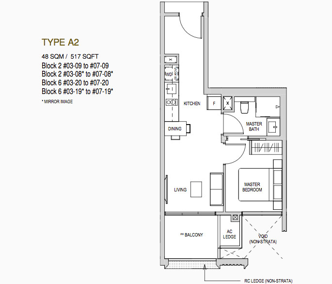 Martin Modern Floor Plan . Type 1 Bedroom Type A2