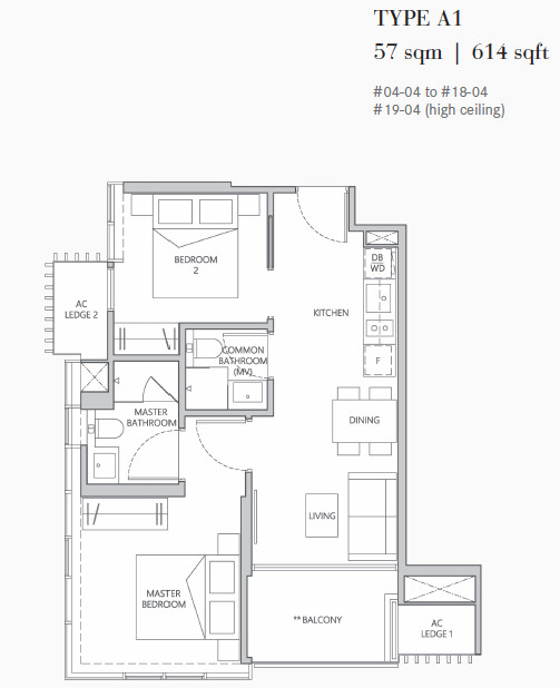 One Meyer Floor Plan . 2 Bedroom Type A1