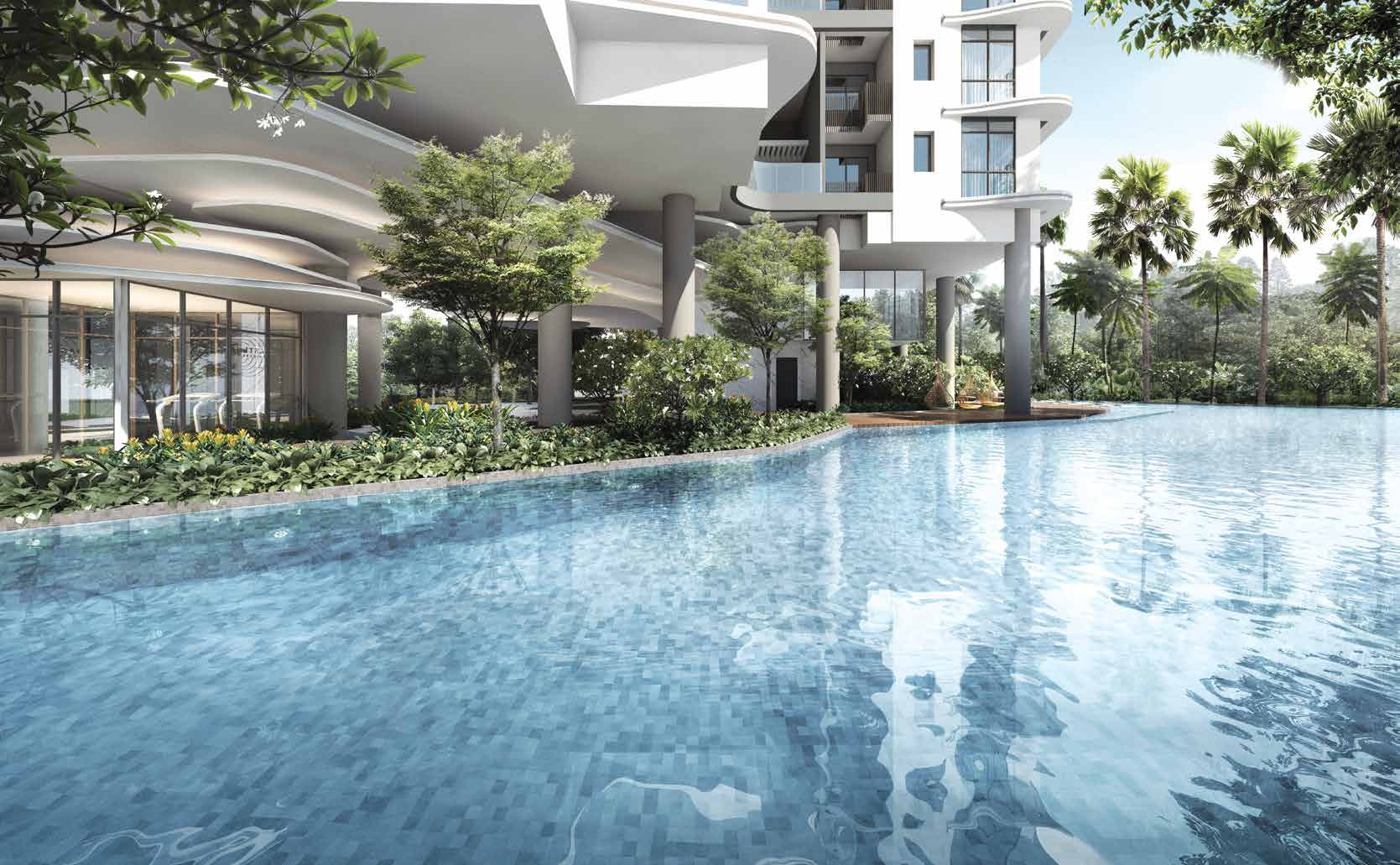 Artist's Impression . Coastline Residences Condominium Pool & Gym Overlooking Pool