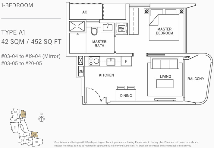 Coastline Residence Floor Plan . 1 Bedroom Type A1