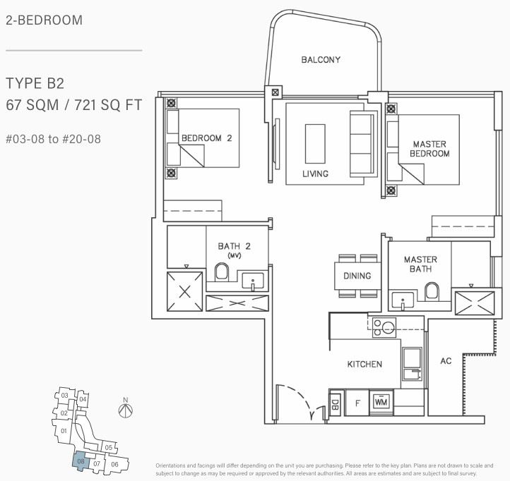 Coastline Residences Floor Plan . 2 Bedroom Type B2
