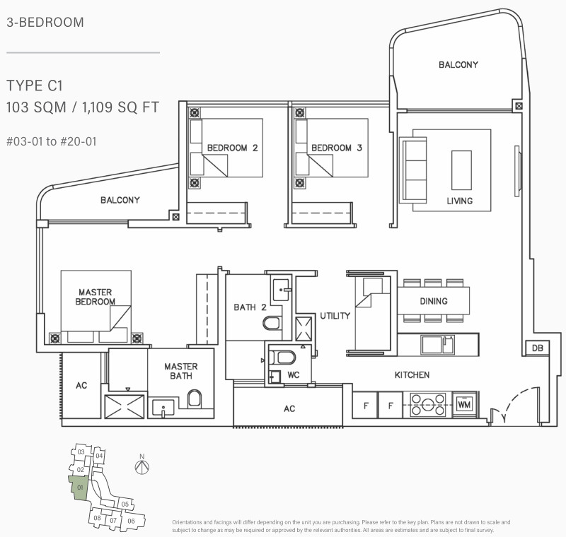 Coastline Residence Floor Plan . 3 Bedroom Type C1