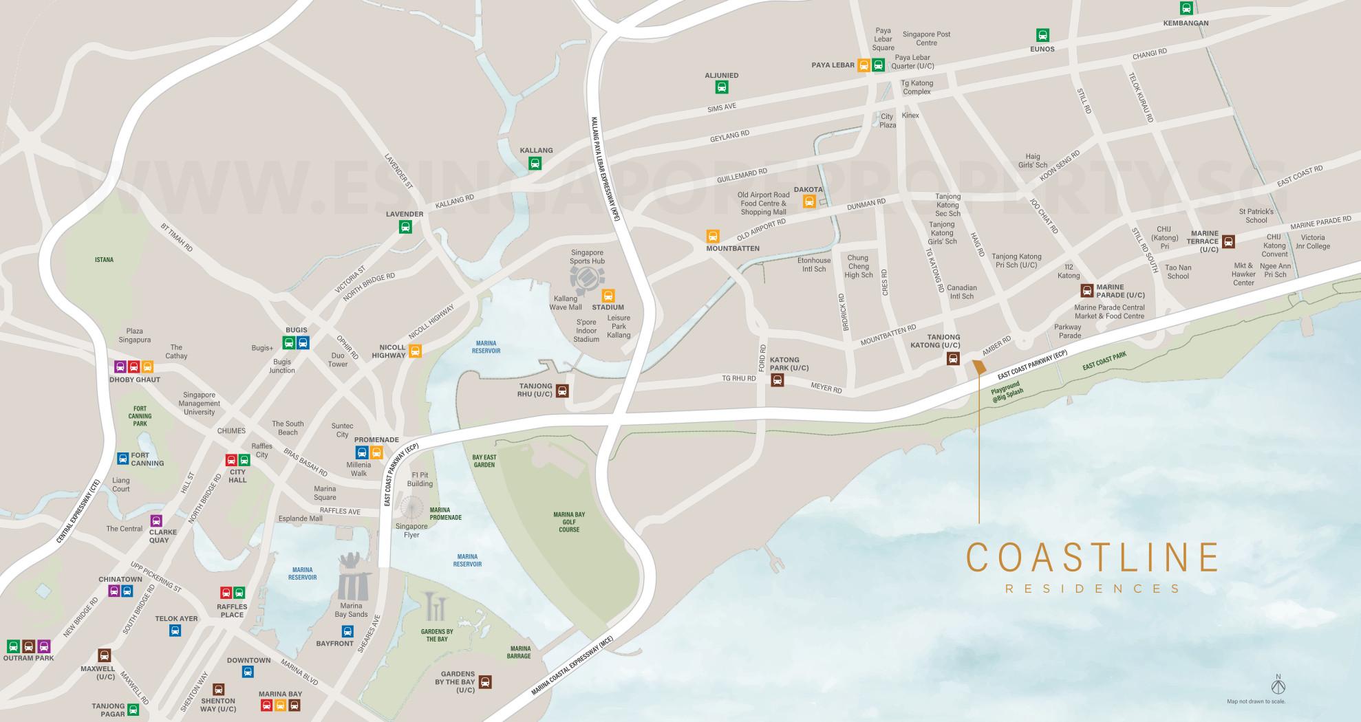Coastline Residences Location Map and Amenities