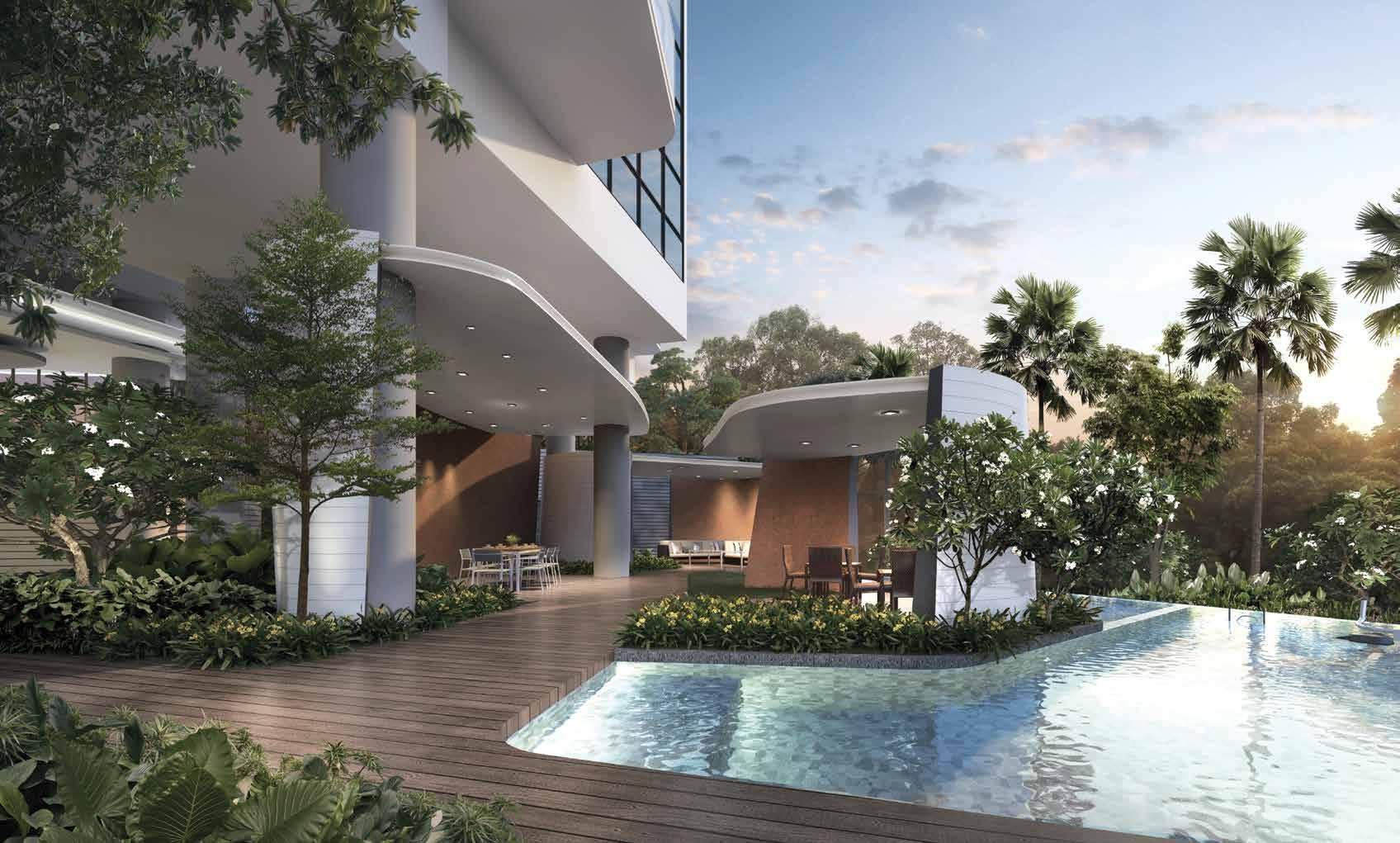 Artist's Impression . The Condominium Pool Deck & Dining Pavilion