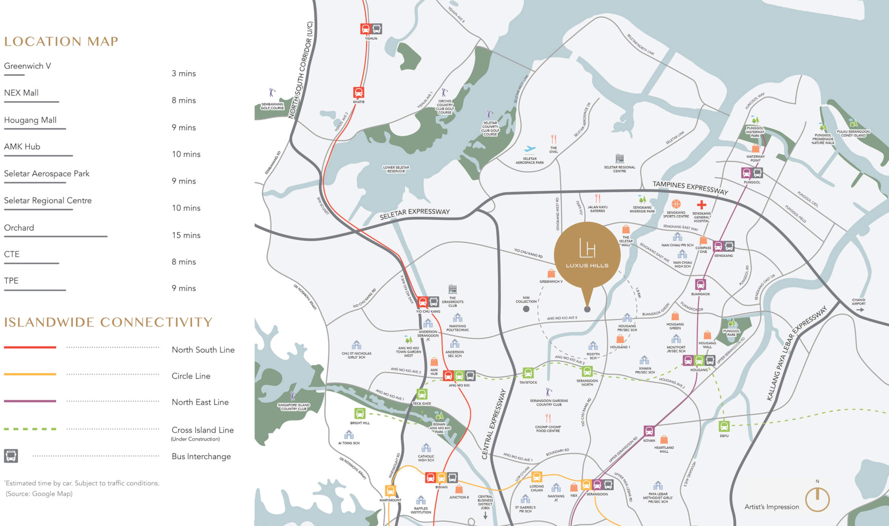Luxus Hills Location Map . Amenities & Travel Distances