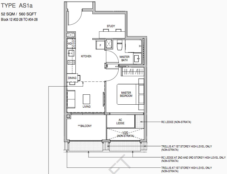 Mayfair Gardens Floor Plan 1BR + Study Type AS1a