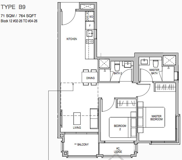 Mayfair Gardens Floor Plans 2BR Type B9