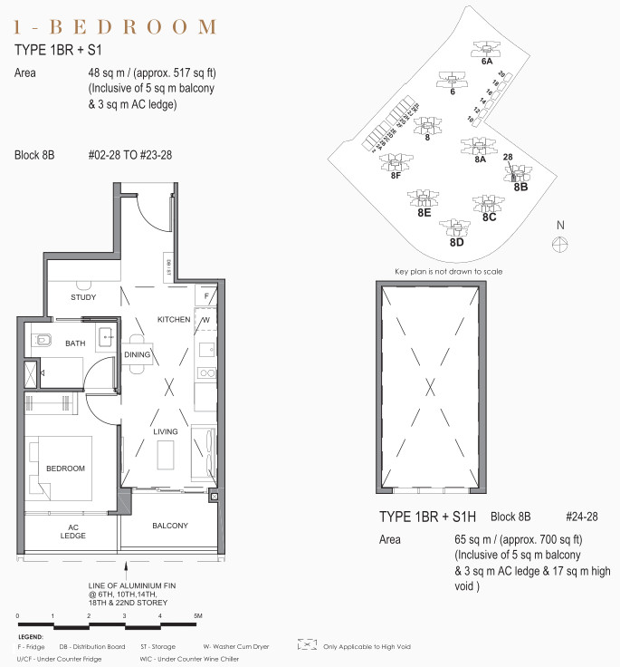 Park Clematis Floor Plan . 1 Bedroom + Study in Contemporary Towers