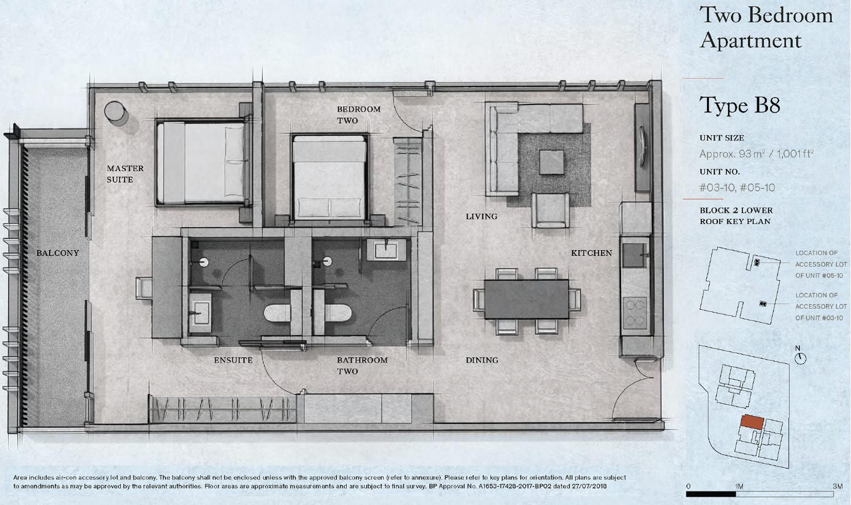 Petit Jervois Floor Plan . 2 Bedroom Type B8