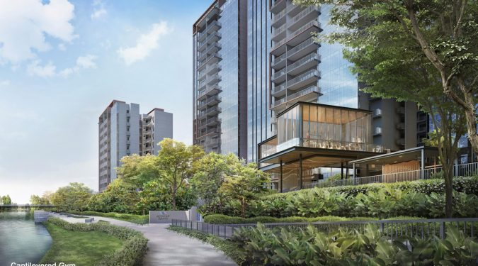 Piermont Grand Executive Condo Gym . Overlooking Punggol Waterway