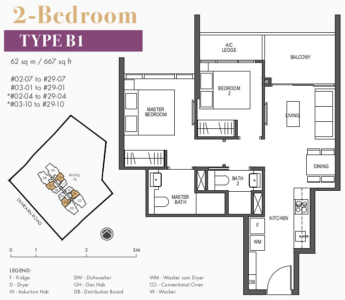 Pullman Residences Floor Plan . 2 Bedroom Type B1
