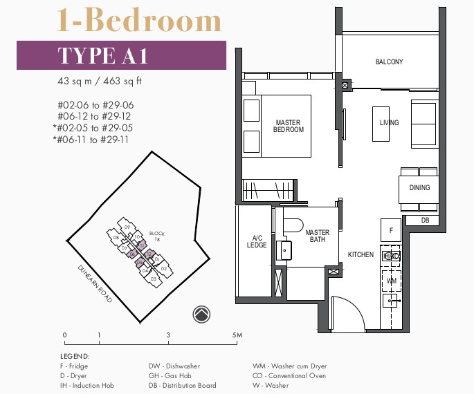 Pullman Residences Floor Plans . 1 Bedroom Type A1