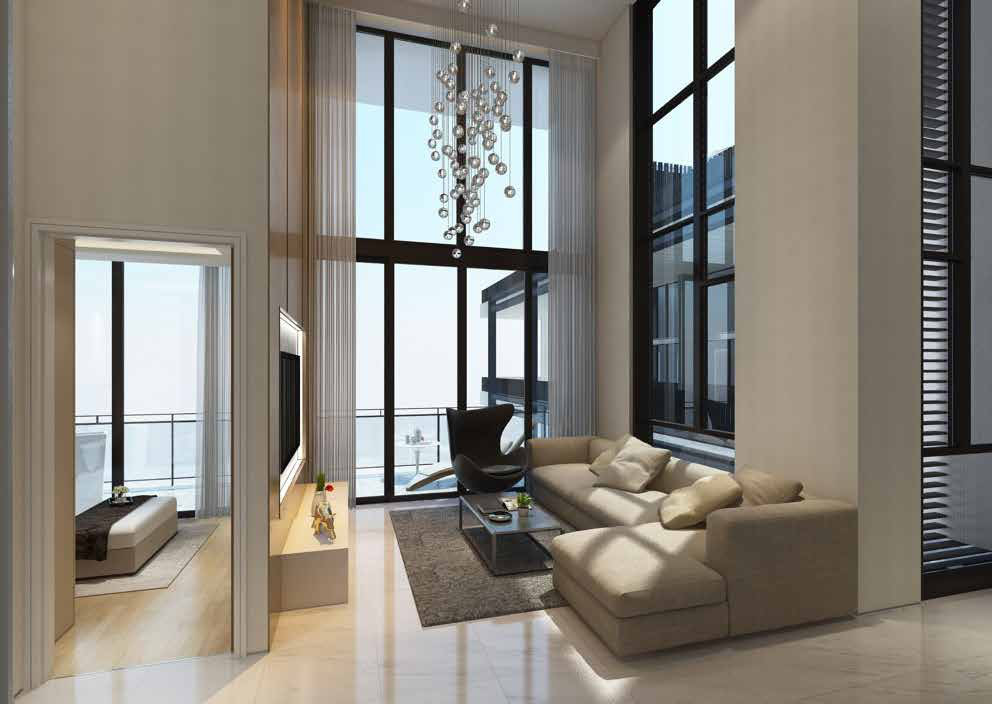 Artist Impression . Sloane Residences Showflat . Living Room