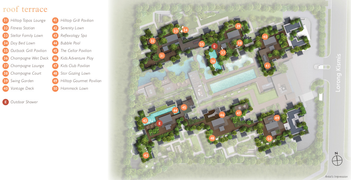 View @ Kismis Site Plan . Roof Terrace Facilities