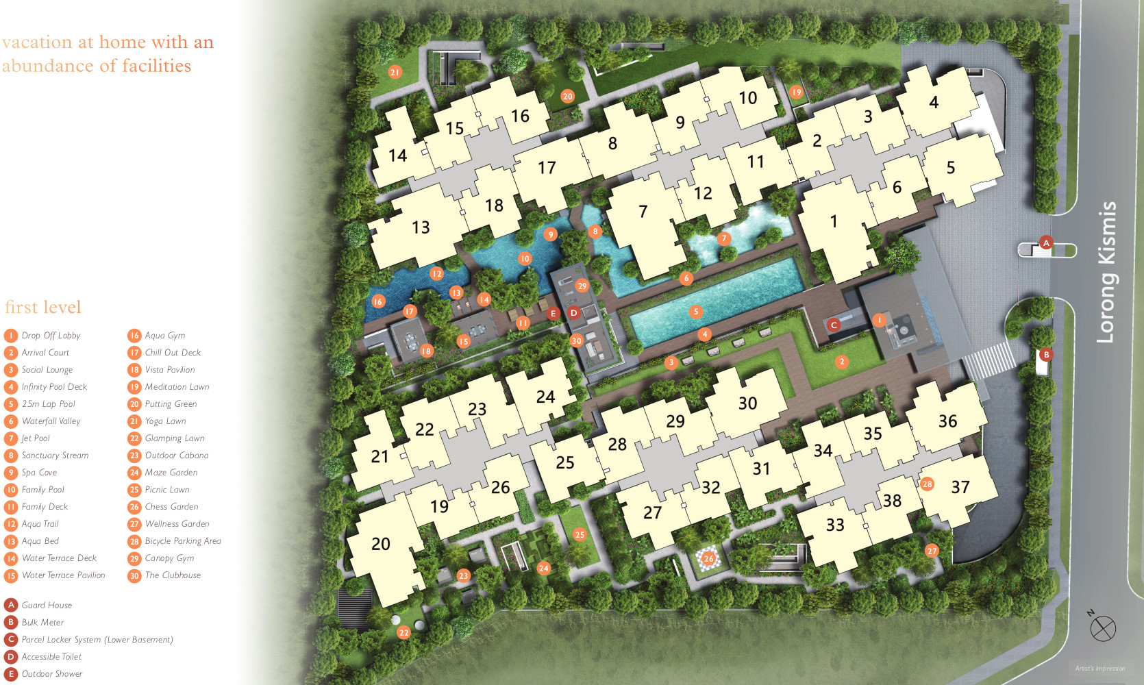 View at Kismis Site Plan . First Level Facilities