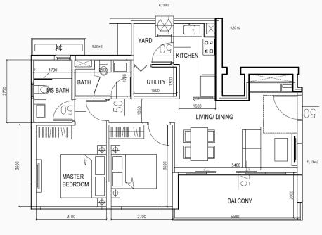 eCO Floor Plan Condo Lifestyle 2BR Type B2 917sqft