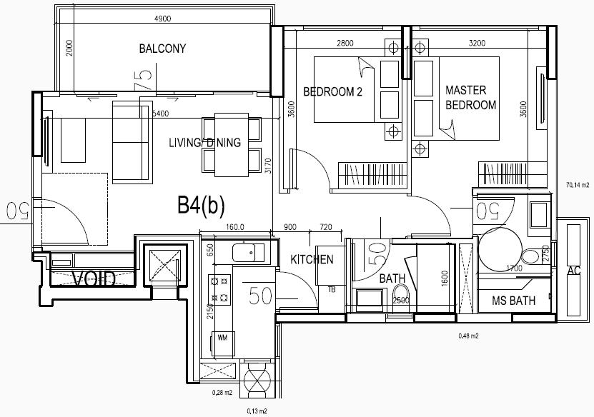 eCO Floor Plan Condo Lifestyle 2BR Type B4 874sqft
