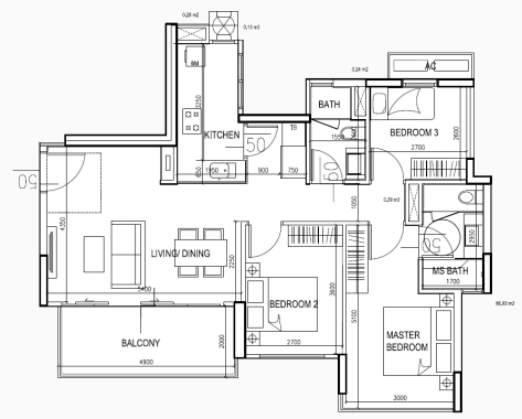 eCO Floor Plan Condo Lifestyle 3BR Type CC4 1053sqft