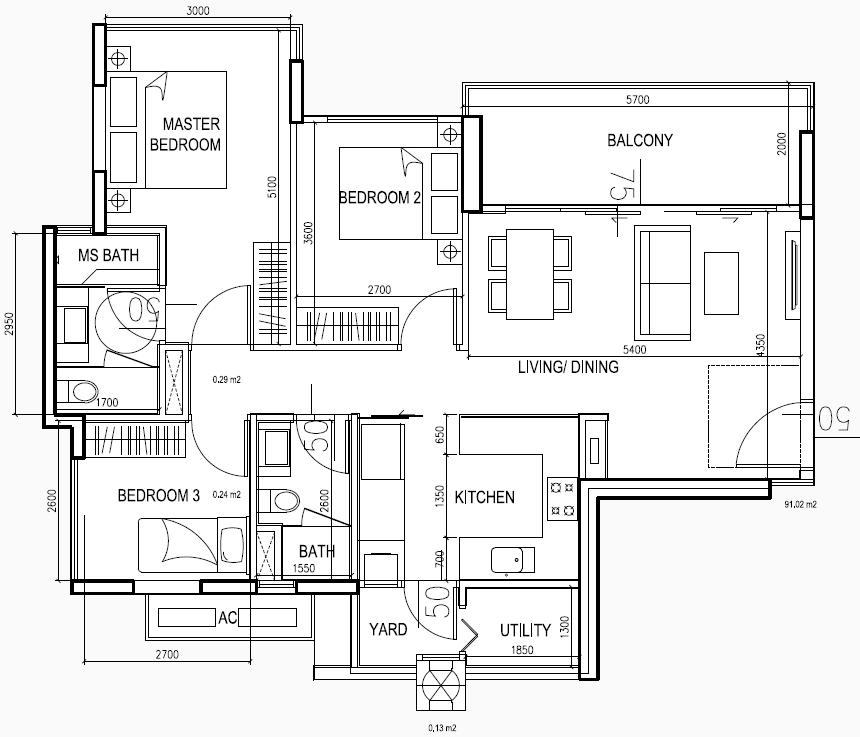eCO Floor Plans Condo Lifestyle 3BR Type CC2 1112sqft