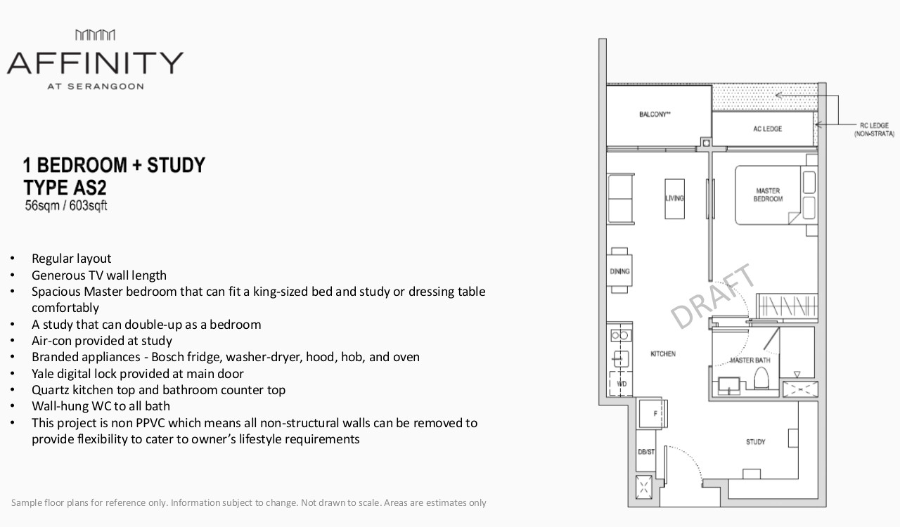 Affinity Condo Floor Plan Type AS2 1BR Study