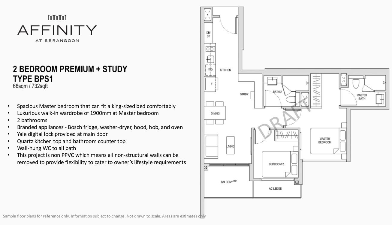 Affinity Condo Floor Plan Type BPS1 2BR Premium Study