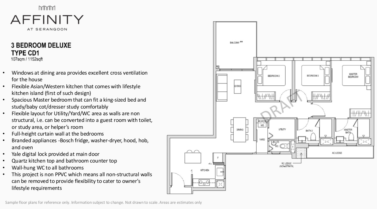 Affinity at Serangoon Floor Plan Type CD1 3BR Deluxe