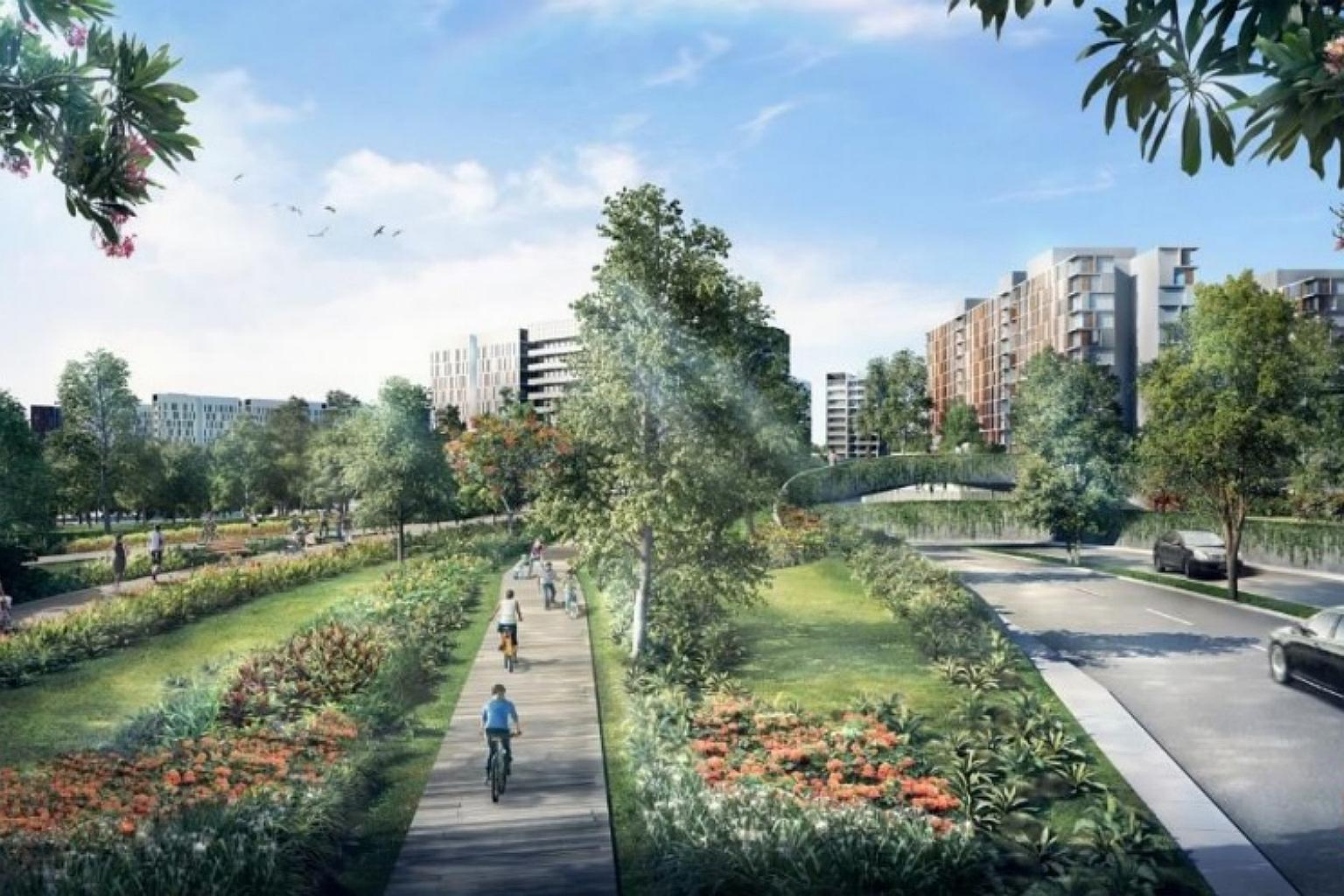 The Bidadari Greenway that runs beside the Woodleigh Condo Location