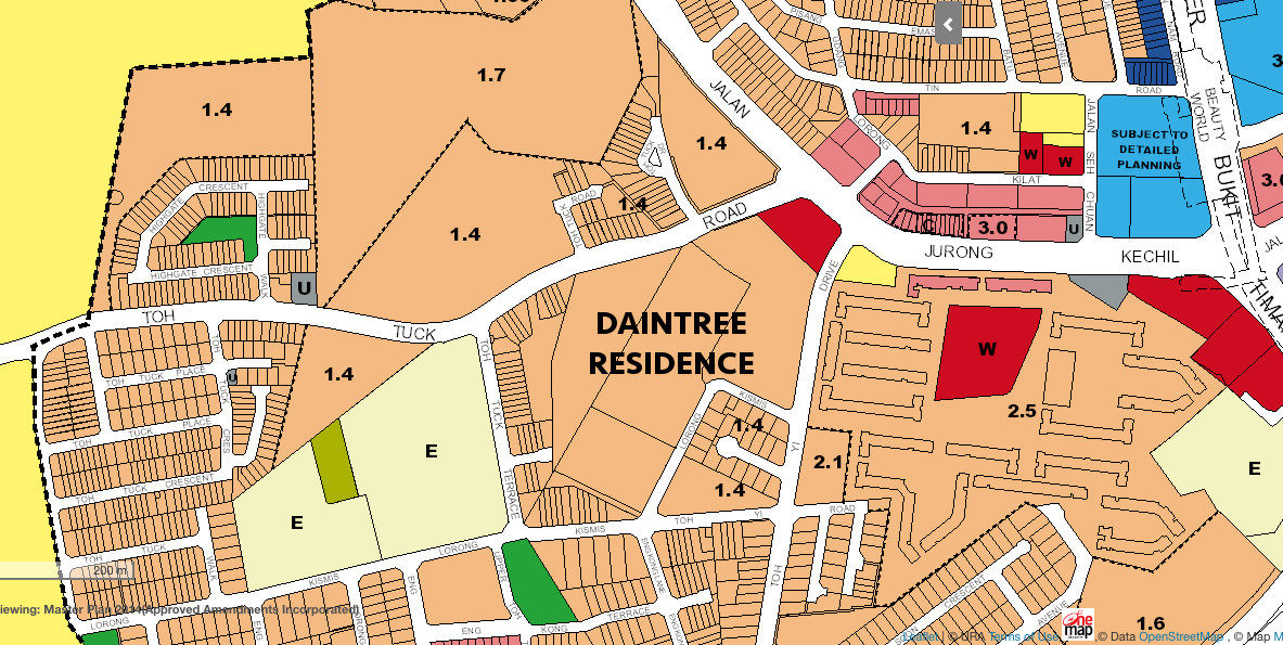 Daintree Condo Site Location . URA Master Plan