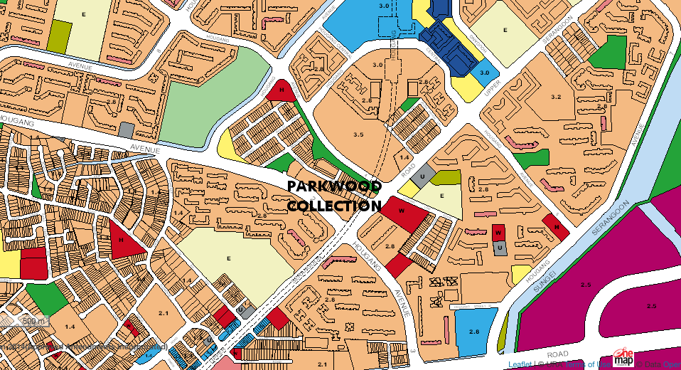Parkwood Houses . Location Map from URA Master Plan