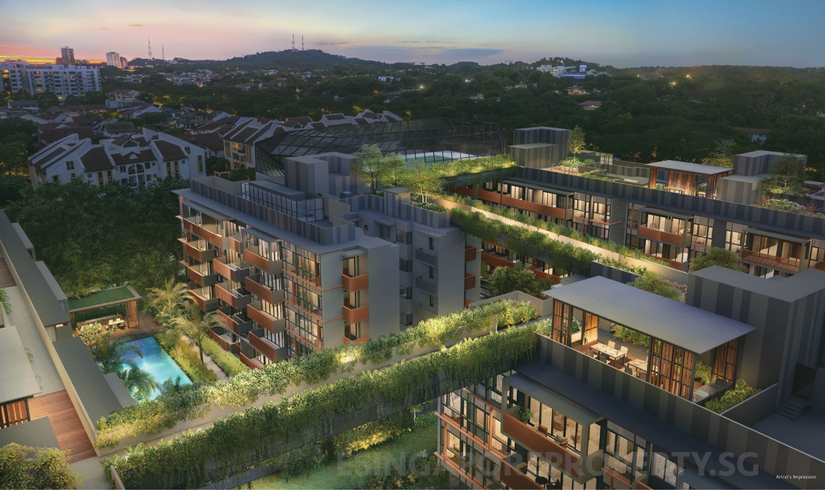 Royal Green Bukit Timah Enclave . Aerial View