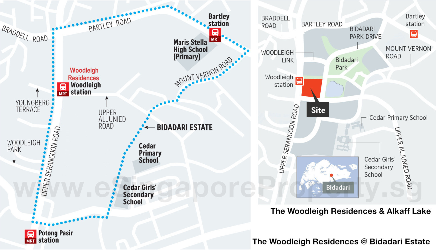 The Woodleigh Residences Location Plan Bidadari Estate . Alkaff Lake