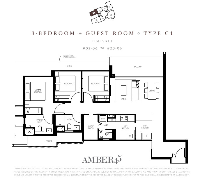 Amber 45 Floor Plan . Type C1 . 3 Bedroom + Guest