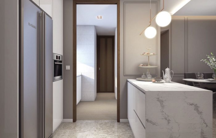 Amber 45 Showflat . Artist's Impression Kitchen
