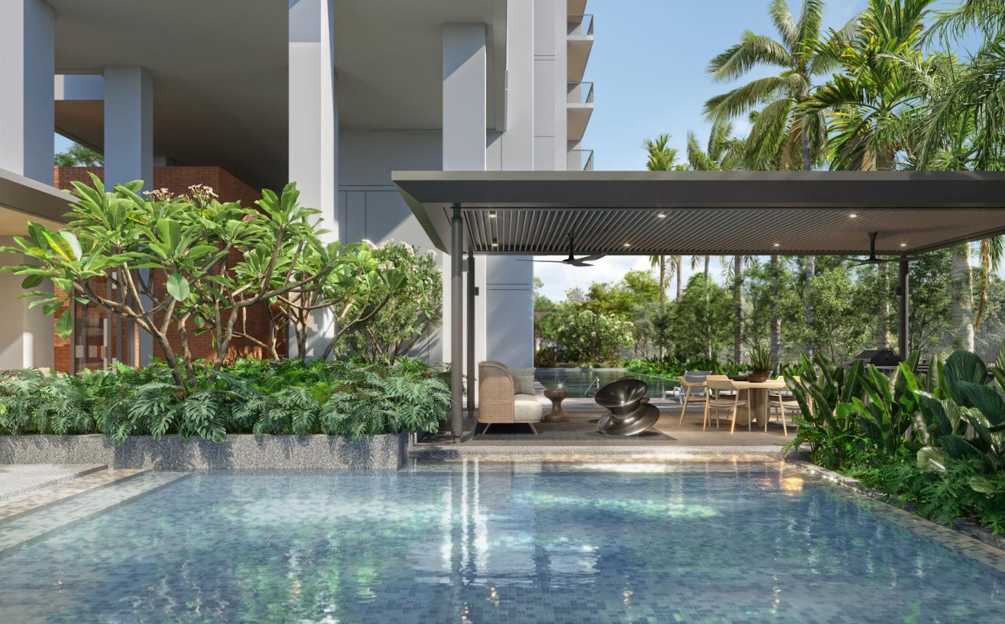 Amber Sea Condominium . Pool Deck