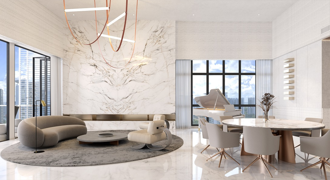 Amber Sea Floor Plan . Penthouse Living & Dining Areas