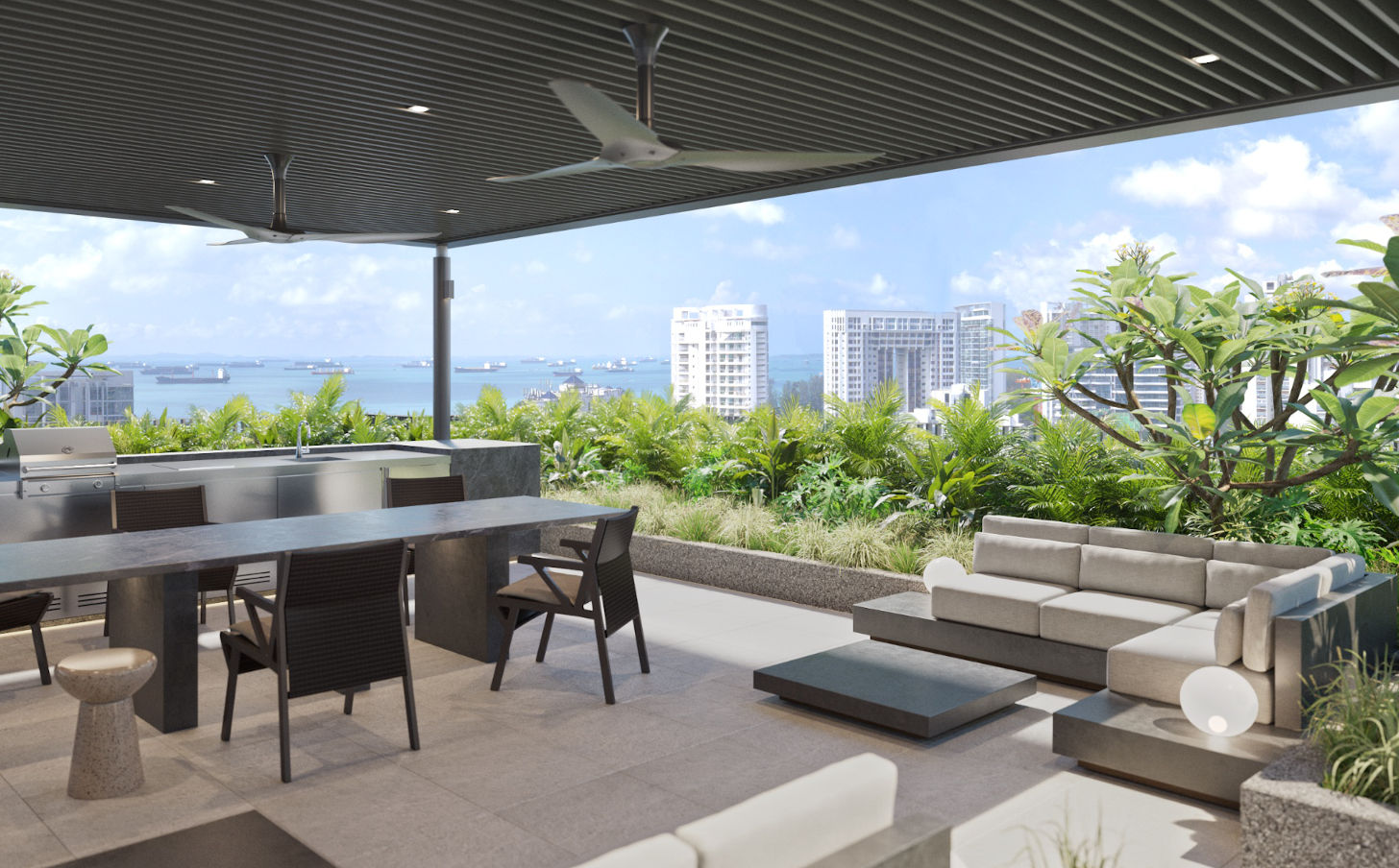 View from Amber Sea Sky Dining Pavilion at the Roof Terrace
