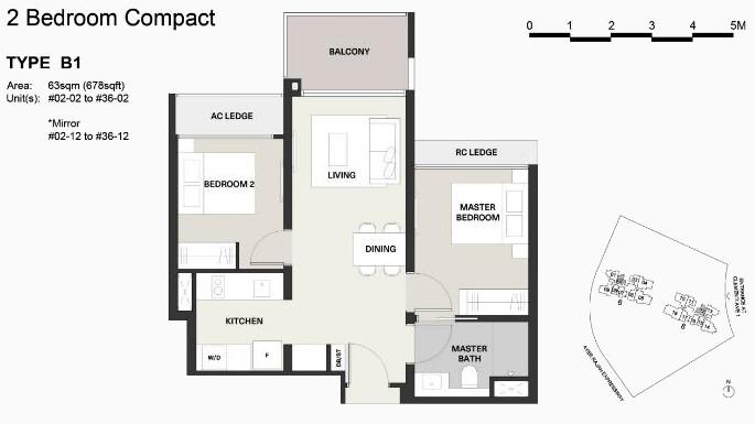 Clavon Condo Floor Plan . Type B1 2 Bedroom Compact