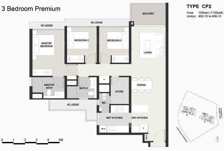 Clavon Condo Floor Plans . Type CP2 3B Bedroom Premium