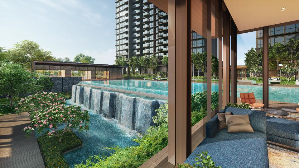 Clavon Condo Terraced Grounds . View from Function Room