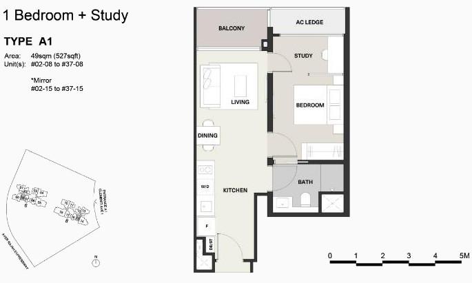Clavon Floor Plan . Type A1 One Bedroom + Study