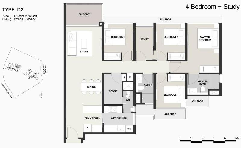 Clavon Floor Plan . Type D2 4 Bedroom + Study