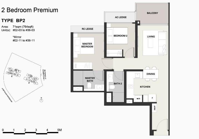 Clavon Floor Plans . Type BP2 2 Bedroom Premium