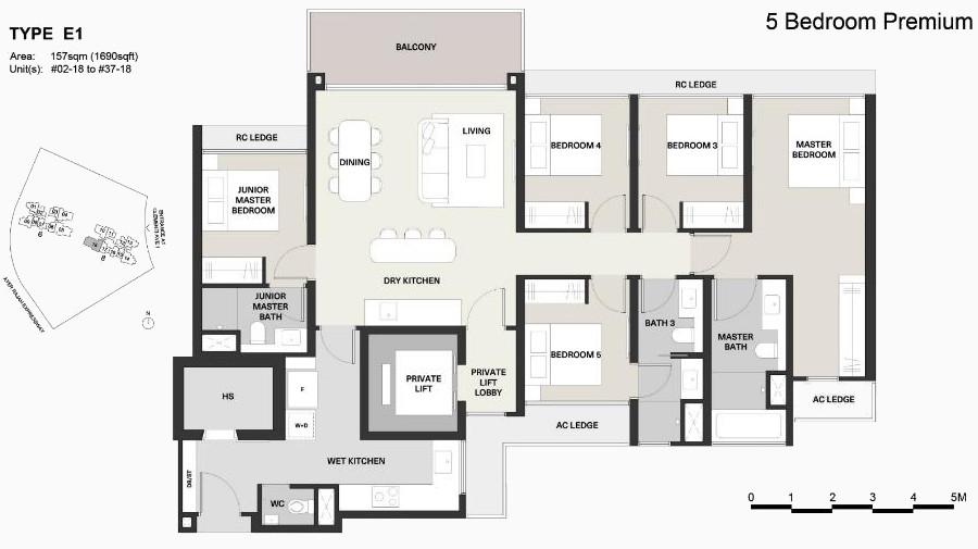 Clavon Floor Plans . Type E1 5 Bedroom Premium