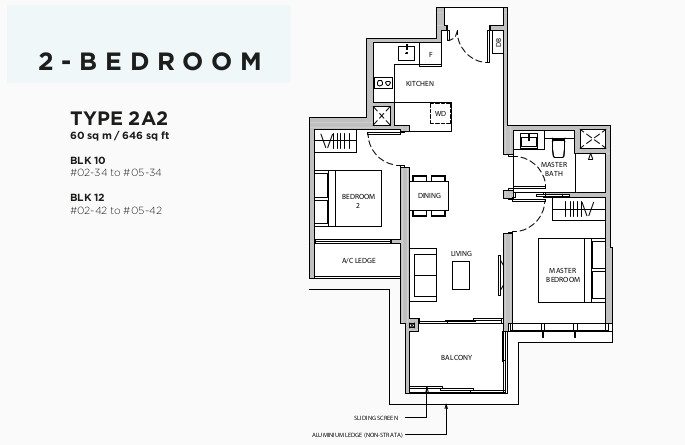Dairy Farm Residences Floor Plan . 2BR Type 2A2