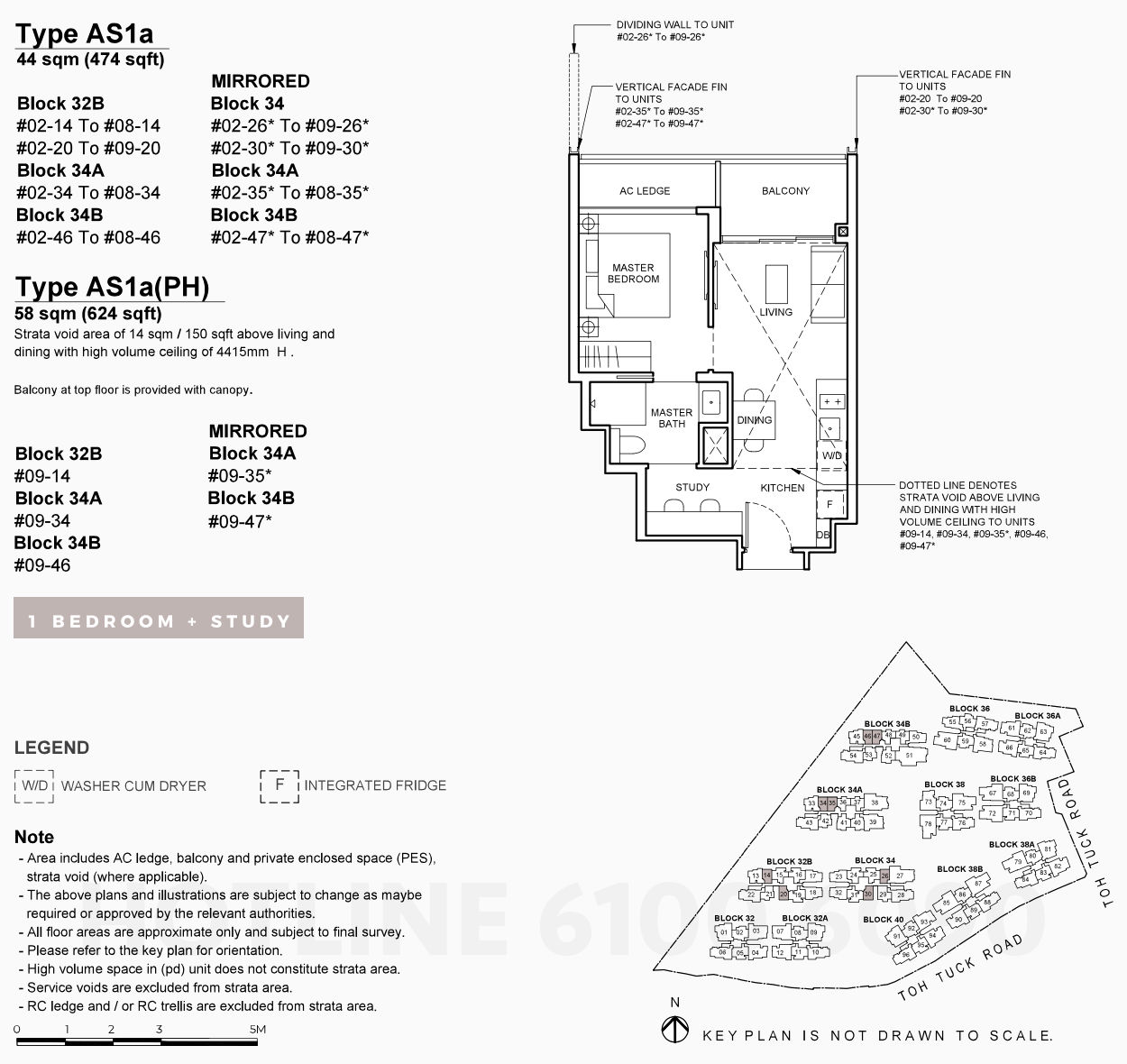 Forett Floor Plan . One Bedroom Study Type AS1a