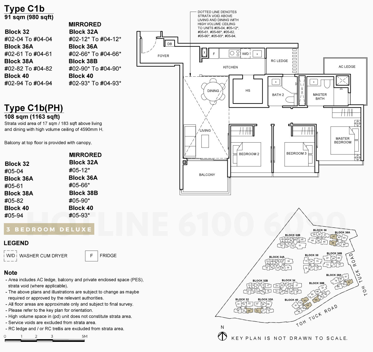 Forett at Bukit Timah Floor Plan . 3 Bedroom Deluxe Type C1b