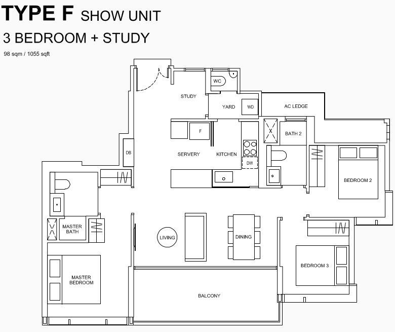 Hyll Condo Floor Plan . 3 Bedroom + Study Type F Showflat