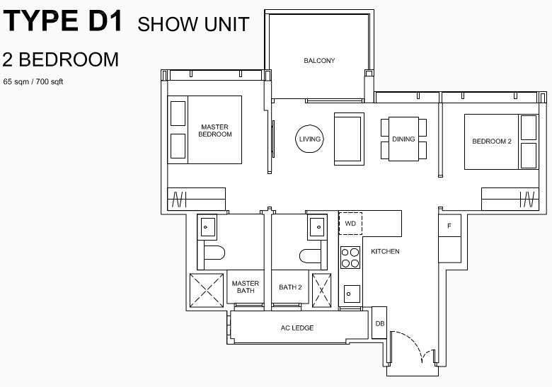 Hyll on Holland Floor Plans . 2 Bedroom Type D1 Show Unit