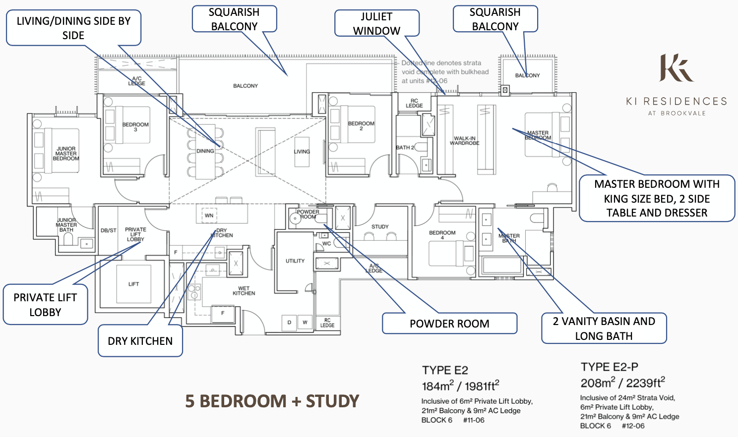 Ki Residences Floor Plans . 5 Bedroom + Study Type E2