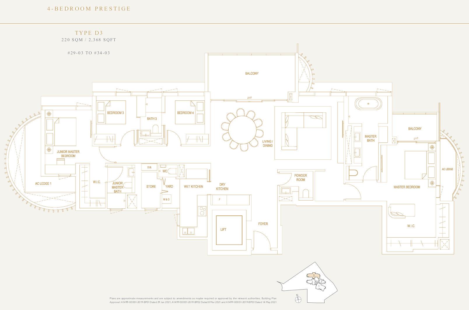 Klimt Cairnhill Condo Floor Plan . 4BR Prestige Type D3